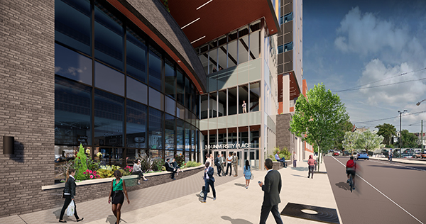 Renderings of 3.0 University Place, a proposed life sciences building in University City